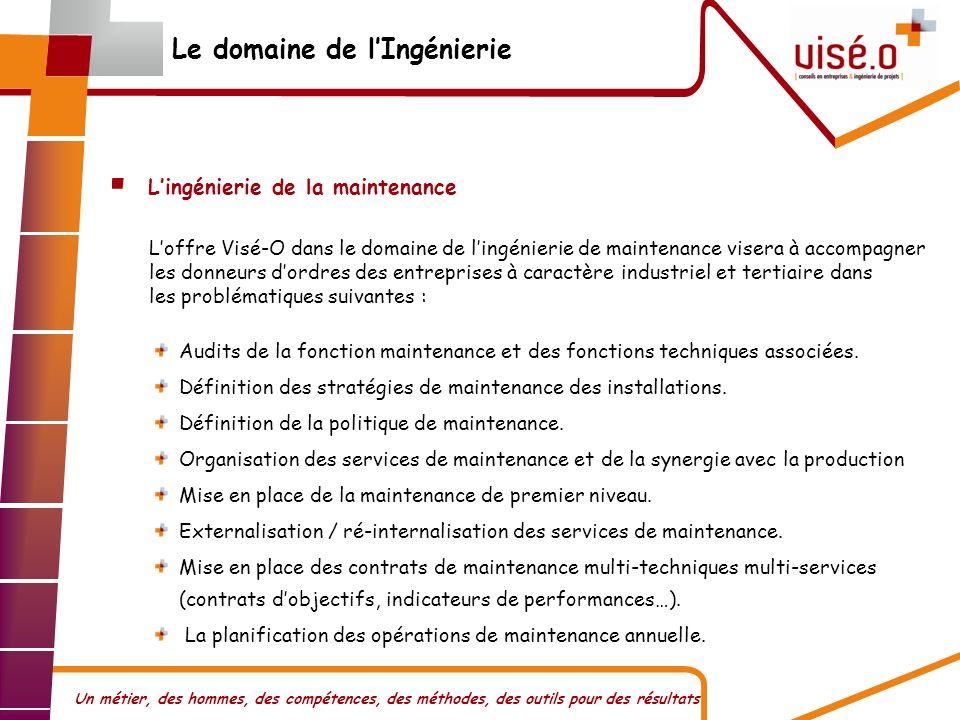 Un métier, des hommes, des compétences, des méthodes, des outils pour des résultats Lingénierie de la maintenance Audits de la fonction maintenance et