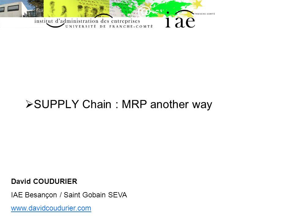 Le MRP DEFINITIONS - Material Requirement Planning - Méthode de réapprovisionnement de la production - Méthode de régulation de la production - Manufacturing Ressource Planning - Management des ressources de production