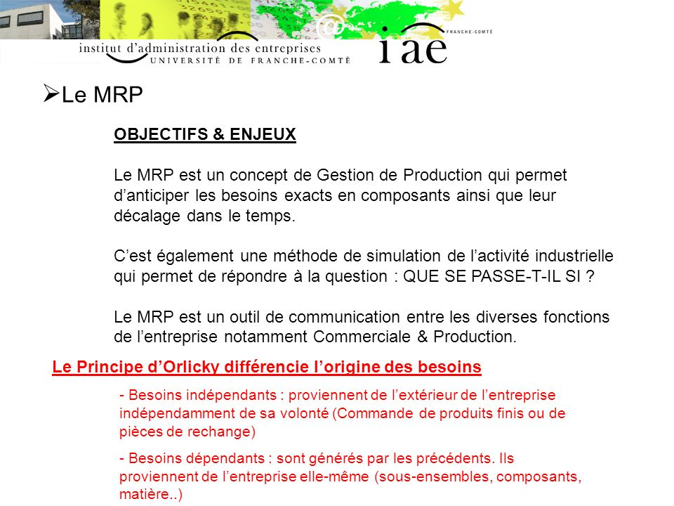 Le MRP SCHEMA DE PRINCIPE MRP2 PlanificationGestion de la demande Plan Stratégique Gestion Atelier