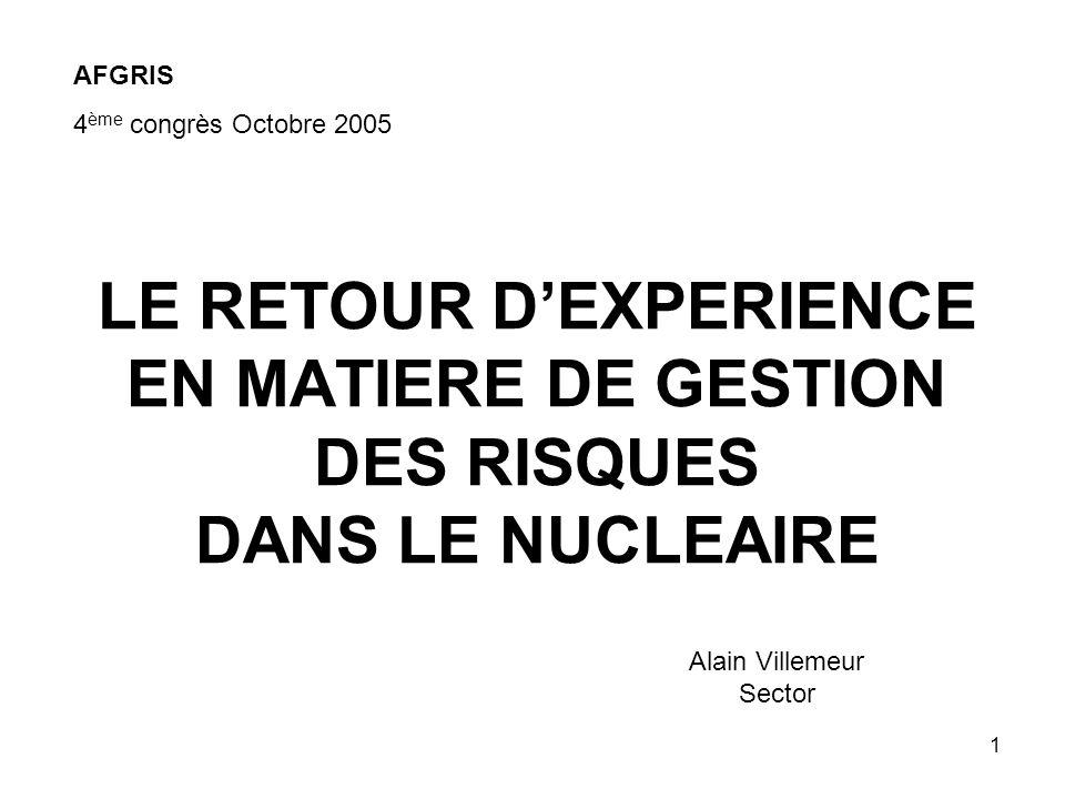 1 LE RETOUR DEXPERIENCE EN MATIERE DE GESTION DES RISQUES DANS LE NUCLEAIRE AFGRIS 4 ème congrès Octobre 2005 Alain Villemeur Sector