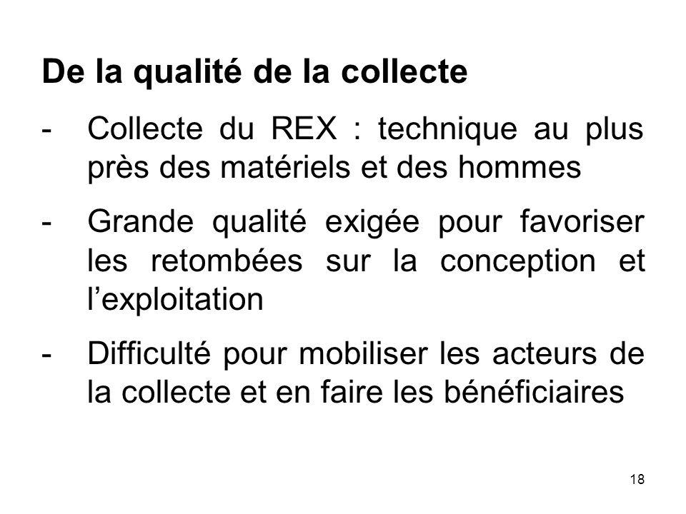 18 De la qualité de la collecte -Collecte du REX : technique au plus près des matériels et des hommes -Grande qualité exigée pour favoriser les retomb