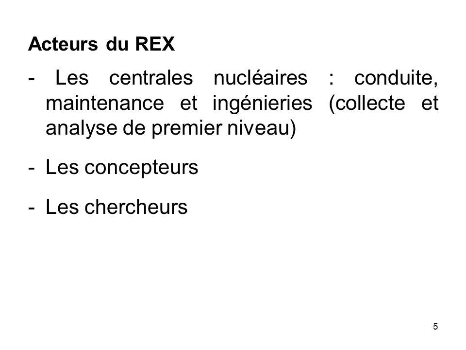 5 Acteurs du REX - Les centrales nucléaires : conduite, maintenance et ingénieries (collecte et analyse de premier niveau) - Les concepteurs -Les cher