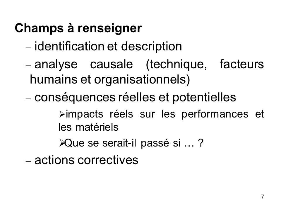 7 Champs à renseigner – identification et description – analyse causale (technique, facteurs humains et organisationnels) – conséquences réelles et po