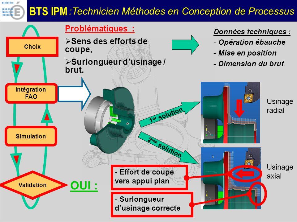 BTS IPM :Technicien Méthodes en Conception de Processus Choix Intégration FAO Validation Données techniques : - Opération ébauche - Mise en position -