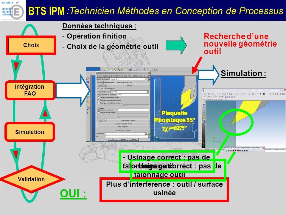 BTS IPM :Technicien Méthodes en Conception de Processus Données techniques : - Opération finition - Choix de la géométrie outil Recherche dune nouvell
