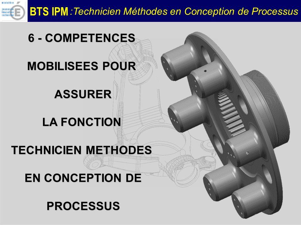 BTS IPM :Technicien Méthodes en Conception de Processus 6 - COMPETENCES MOBILISEES POUR ASSURER ASSURER LA FONCTION TECHNICIEN METHODES EN CONCEPTION