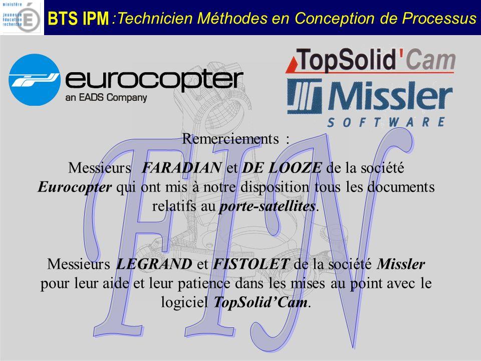 BTS IPM :Technicien Méthodes en Conception de Processus Remerciements : Messieurs FARADIAN et DE LOOZE de la société Eurocopter qui ont mis à notre di
