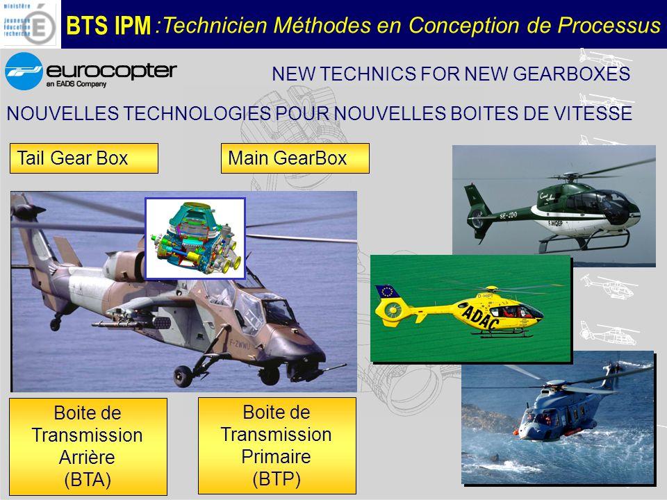 BTS IPM :Technicien Méthodes en Conception de Processus Technical requirements - Reliability, fatigue behaviour - Weight/power transmitted -(Operating after loss of oil>30mn -...