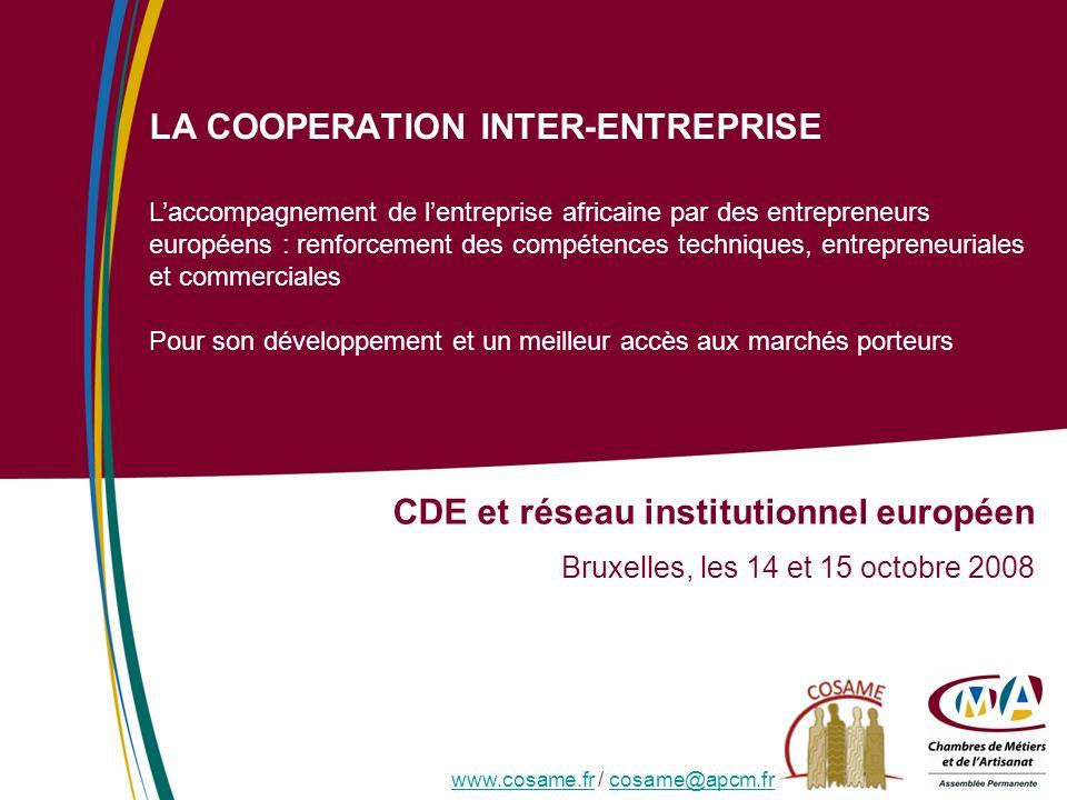 LA COOPERATION INTER-ENTREPRISE CDE et réseau institutionnel européen Bruxelles, les 14 et 15 octobre 2008 Laccompagnement de lentreprise africaine pa