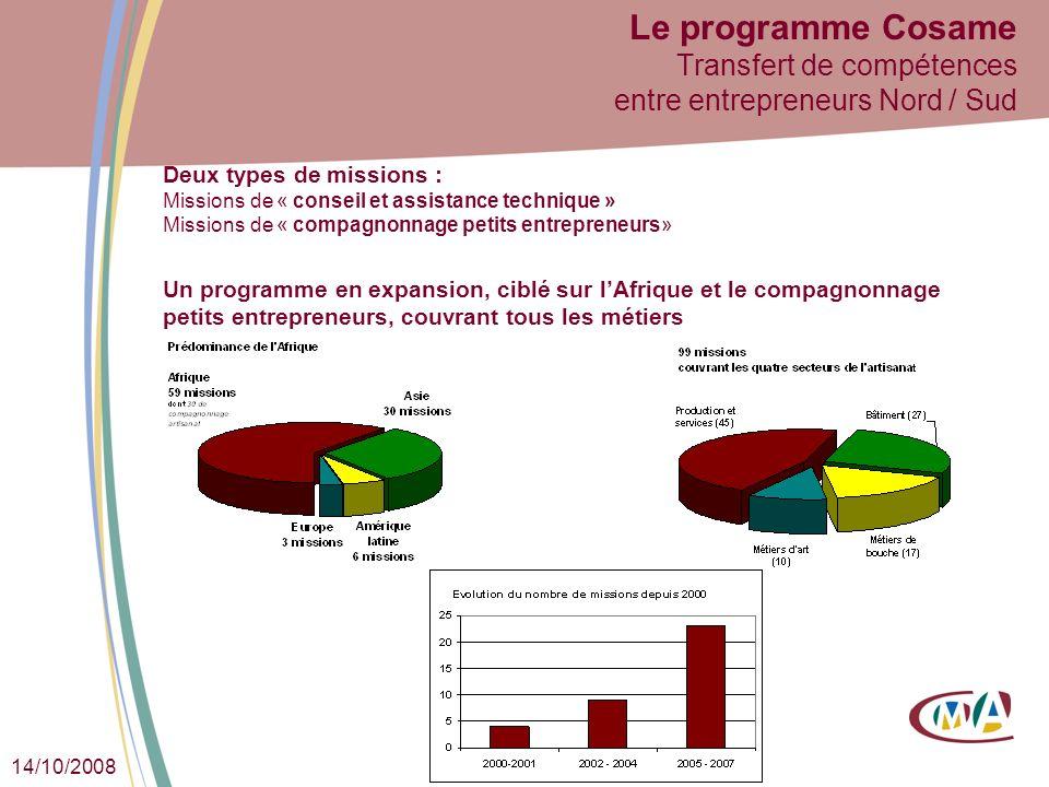 14/10/2008 Le programme Cosame Transfert de compétences entre entrepreneurs Nord / Sud Deux types de missions : Missions de « conseil et assistance te