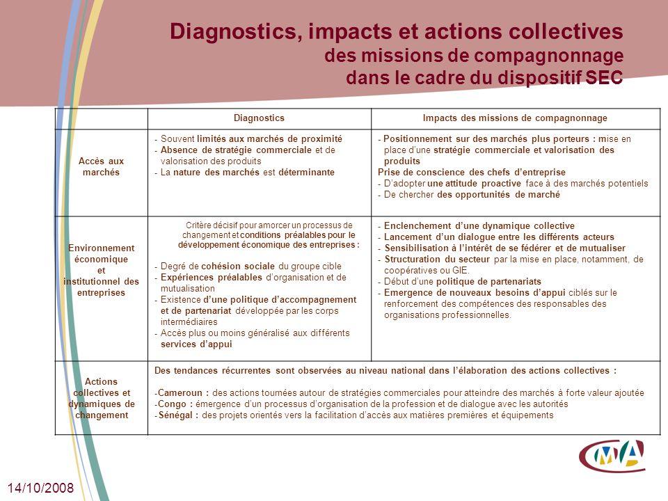 14/10/2008 Diagnostics, impacts et actions collectives des missions de compagnonnage dans le cadre du dispositif SEC DiagnosticsImpacts des missions d