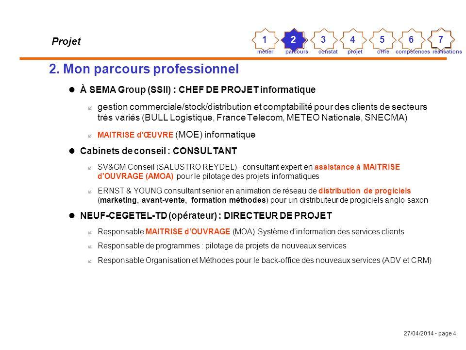 27/04/2014 - page 3 Projet 1. Mon métier Pilotage de projets ou Coordination transversale dactivité À forte composante Système dInformation Domaines v