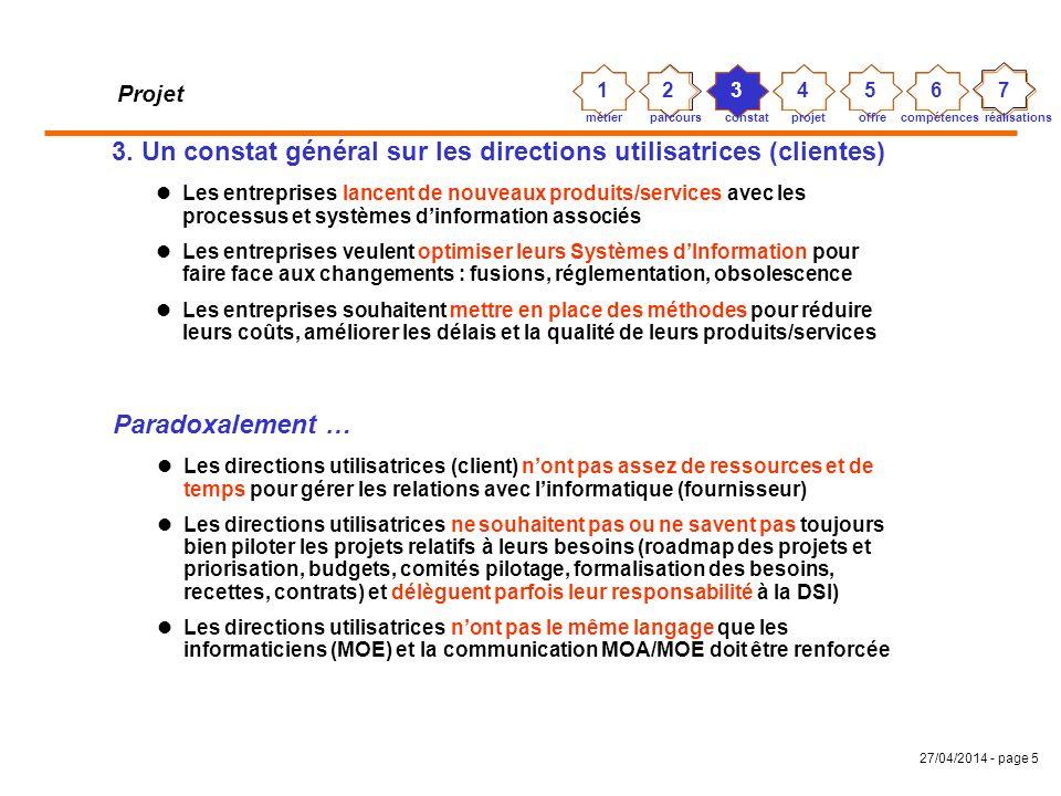 27/04/2014 - page 4 Projet 2. Mon parcours professionnel À SEMA Group (SSII) : CHEF DE PROJET informatique í gestion commerciale/stock/distribution et