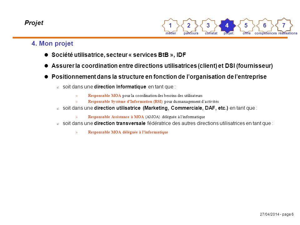 27/04/2014 - page 5 Projet 3. Un constat général sur les directions utilisatrices (clientes) Les entreprises lancent de nouveaux produits/services ave