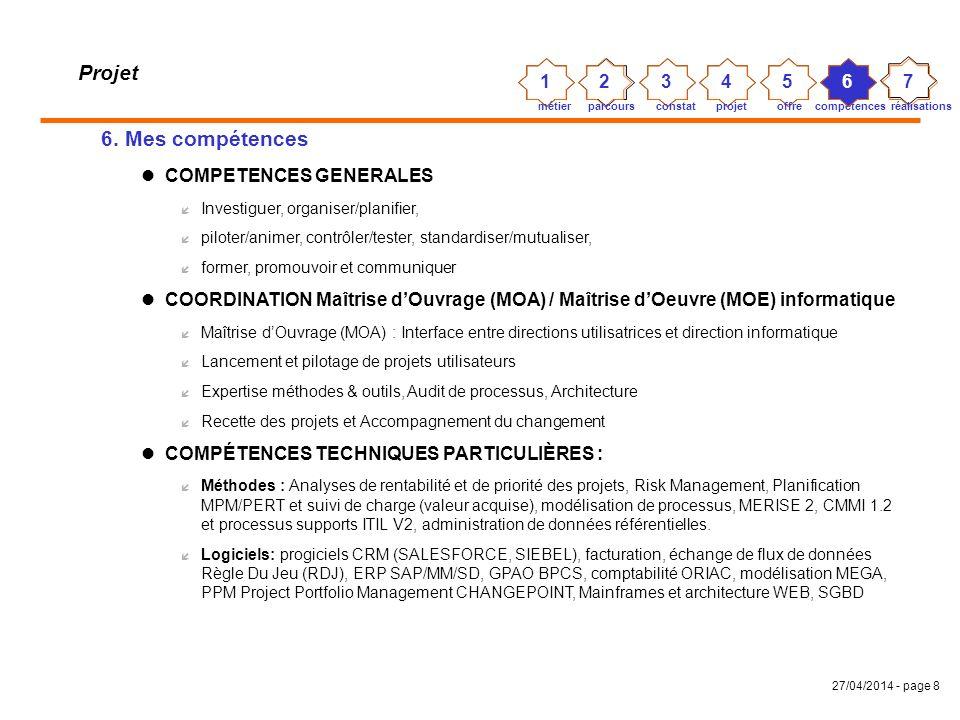 27/04/2014 - page 7 Projet 5. Mon offre Analyser la pertinence, les coûts et les risques des projets pour garantir le ROI et la transparence des proje