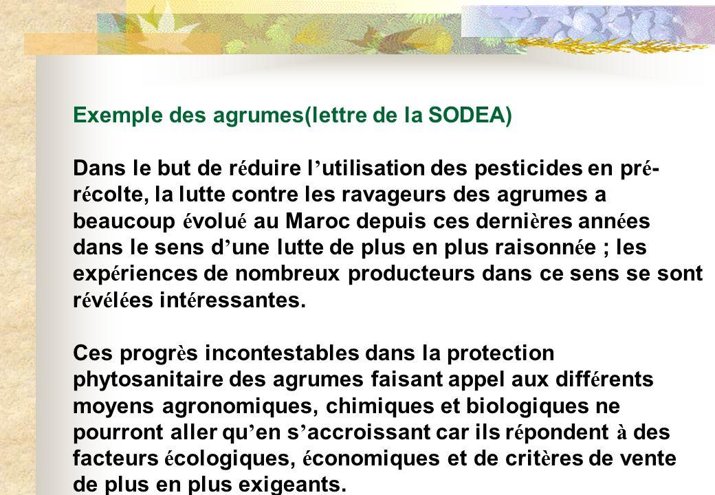 Exemple des agrumes(lettre de la SODEA) Dans le but de r é duire l utilisation des pesticides en pr é - r é colte, la lutte contre les ravageurs des a