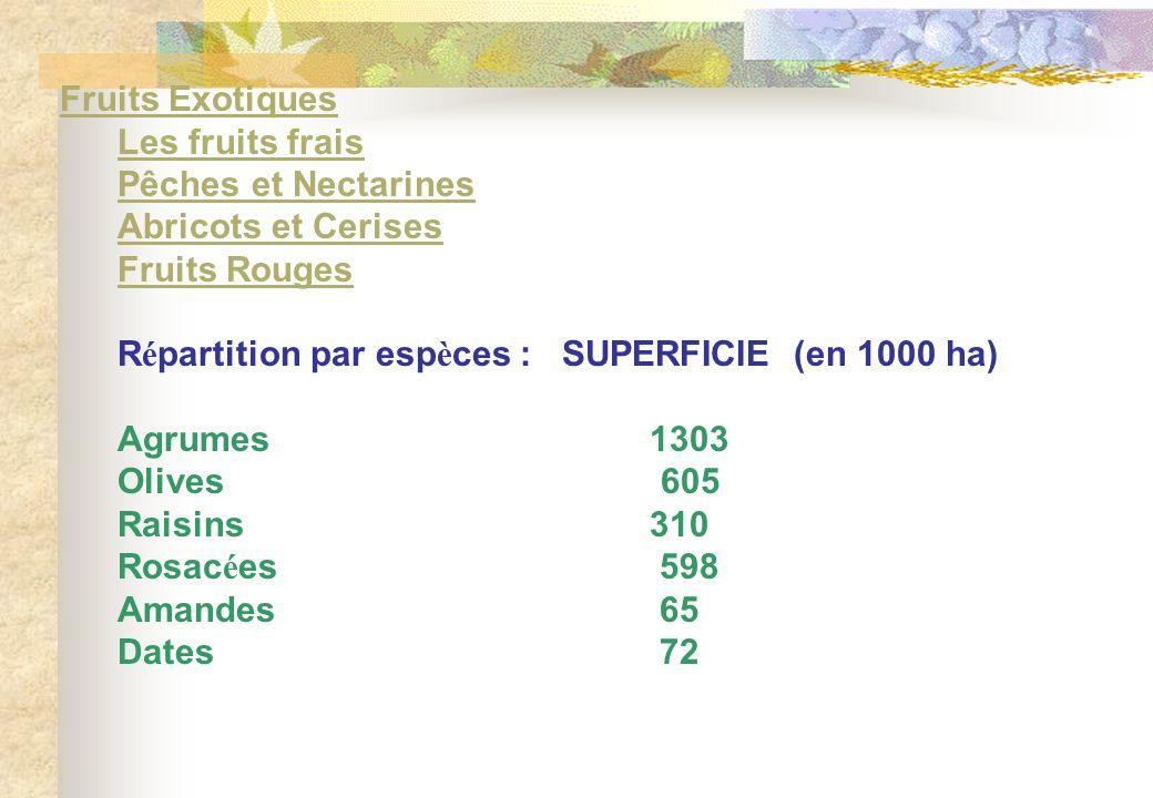 Fruits ExotiquesFruits Exotiques Les fruits frais Pêches et Nectarines Abricots et Cerises Fruits Rouges R é partition par esp è ces : SUPERFICIE (en