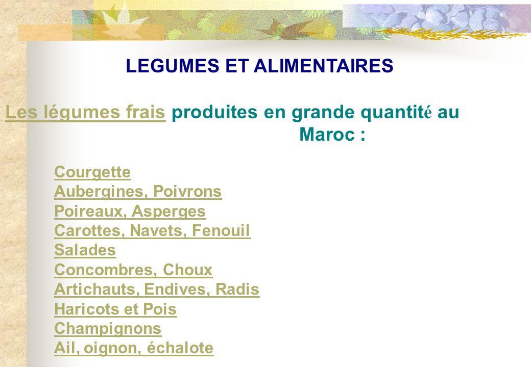 LEGUMES ET ALIMENTAIRES Les légumes fraisLes légumes frais produites en grande quantit é au Maroc : Courgette Aubergines, Poivrons Poireaux, Asperges