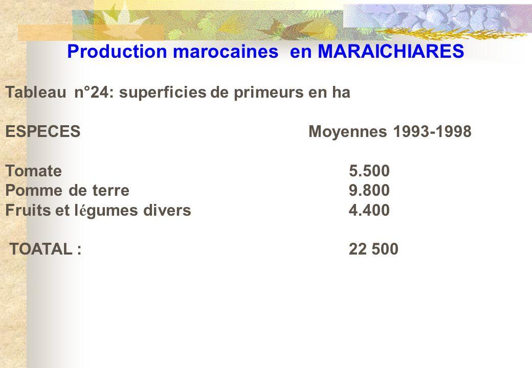 Production marocaines en MARAICHIARES Tableau n°24: superficies de primeurs en ha ESPECES Moyennes 1993-1998 Tomate5.500 Pomme de terre9.800 Fruits et
