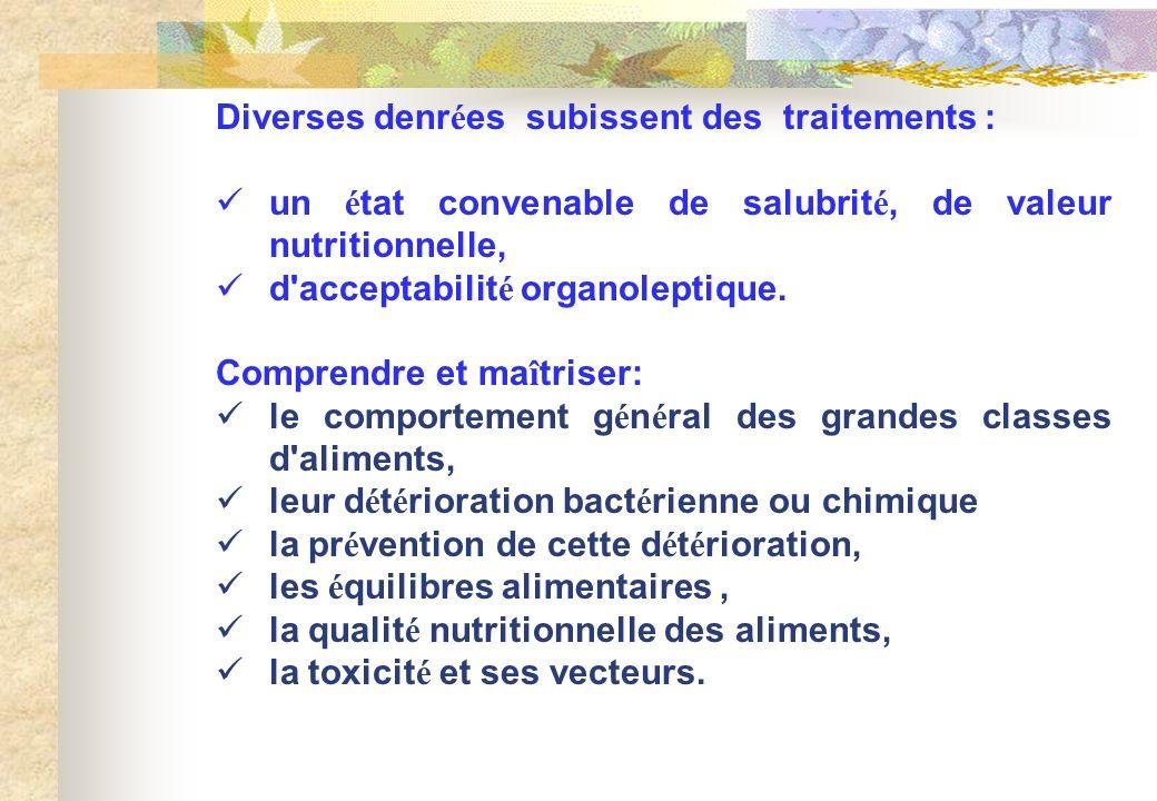 Diverses denr é es subissent des traitements : un é tat convenable de salubrit é, de valeur nutritionnelle, d'acceptabilit é organoleptique. Comprendr