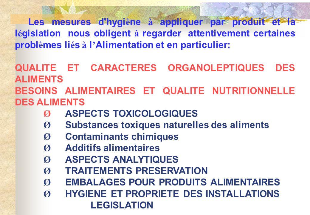 Les mesures d'hygi è ne à appliquer par produit et la l é gislation nous obligent à regarder attentivement certaines probl è mes li é s à l Alimentati