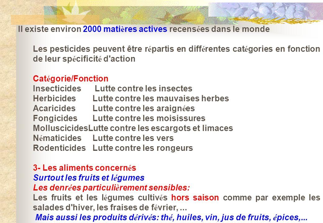 Il existe environ 2000 mati è res actives recens é es dans le monde Les pesticides peuvent être r é partis en diff é rentes cat é gories en fonction d