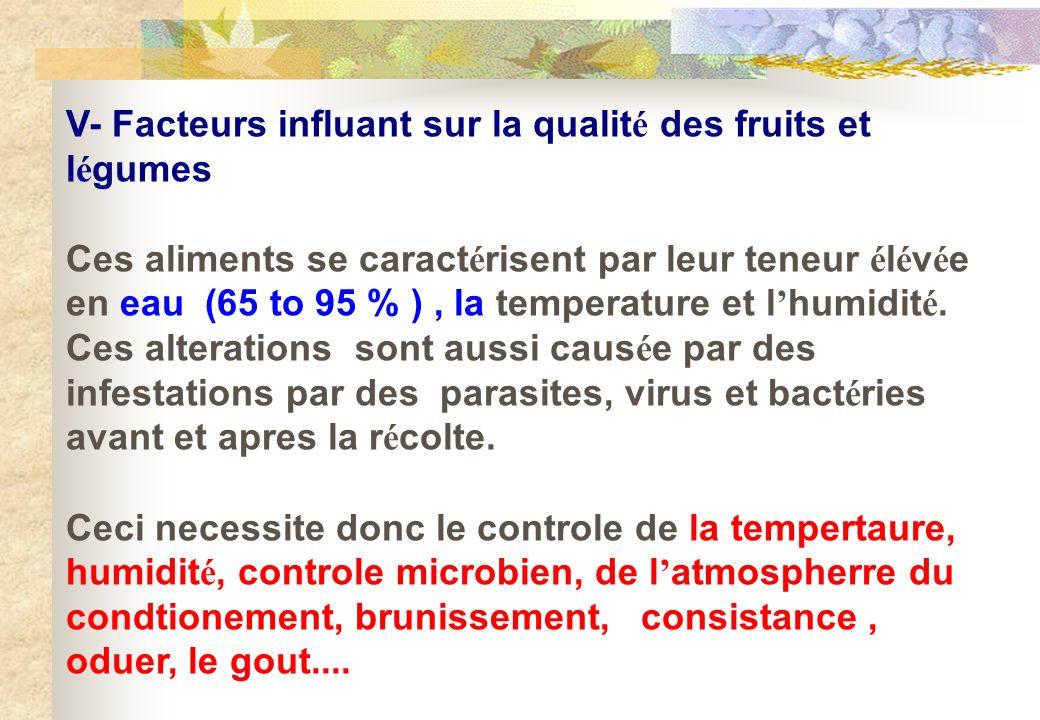 V- Facteurs influant sur la qualit é des fruits et l é gumes Ces aliments se caract é risent par leur teneur é l é v é e en eau (65 to 95 % ), la temp