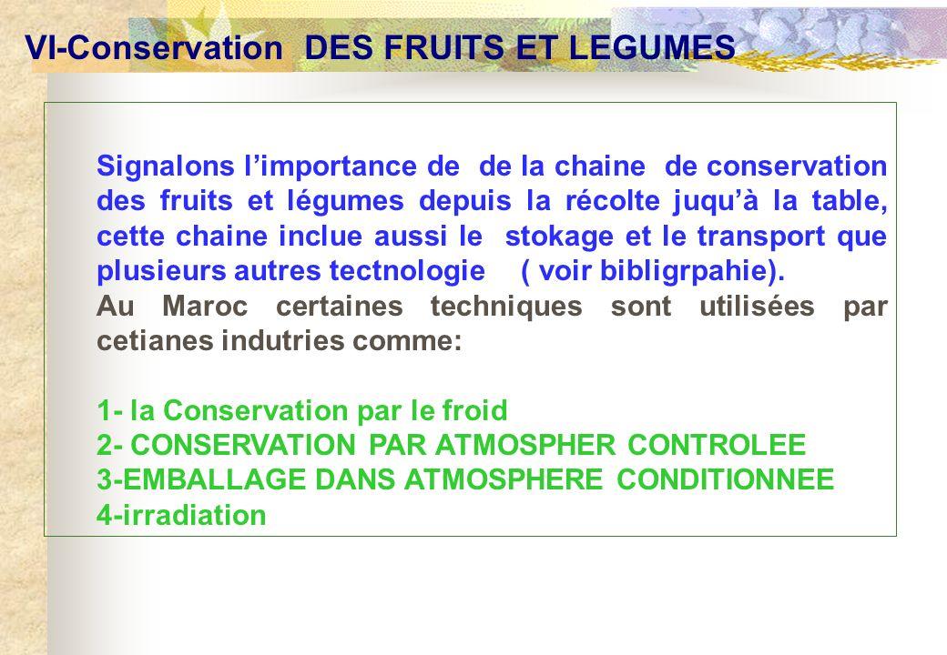 VI-Conservation DES FRUITS ET LEGUMES Signalons limportance de la chaine de conservation des fruits et légumes depuis la récolte juquà la table, cette