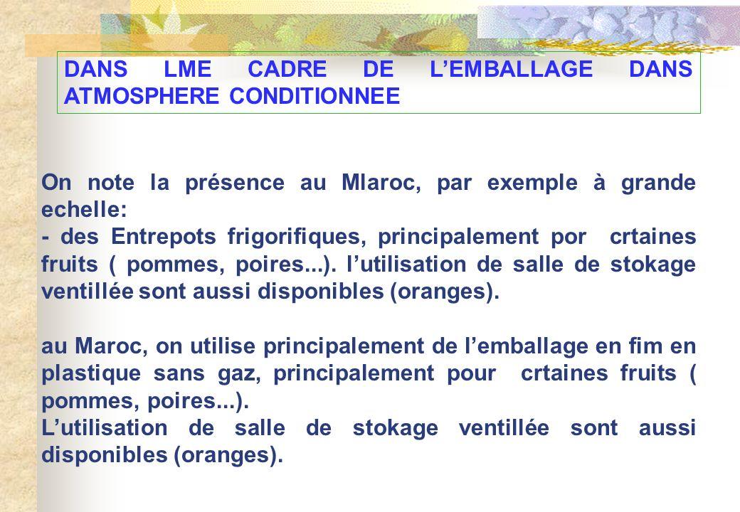 DANS LME CADRE DE LEMBALLAGE DANS ATMOSPHERE CONDITIONNEE On note la présence au Mlaroc, par exemple à grande echelle: - des Entrepots frigorifiques,