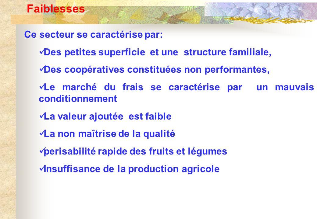 Faiblesses Ce secteur se caractérise par: Des petites superficie et une structure familiale, Des coopératives constituées non performantes, Le marché