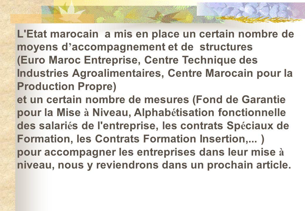 L'Etat marocain a mis en place un certain nombre de moyens d accompagnement et de structures (Euro Maroc Entreprise, Centre Technique des Industries A
