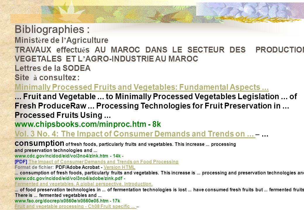 Bibliographies : Minist è re de l Agriculture TRAVAUX effectu é s AU MAROC DANS LE SECTEUR DES PRODUCTIONS VEGETALES ET L AGRO-INDUSTRIE AU MAROC Lett