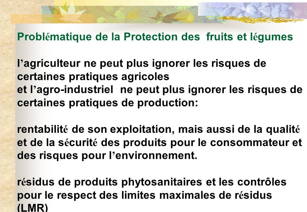 Probl é matique de la Protection des fruits et l é gumes l agriculteur ne peut plus ignorer les risques de certaines pratiques agricoles et l agro-ind