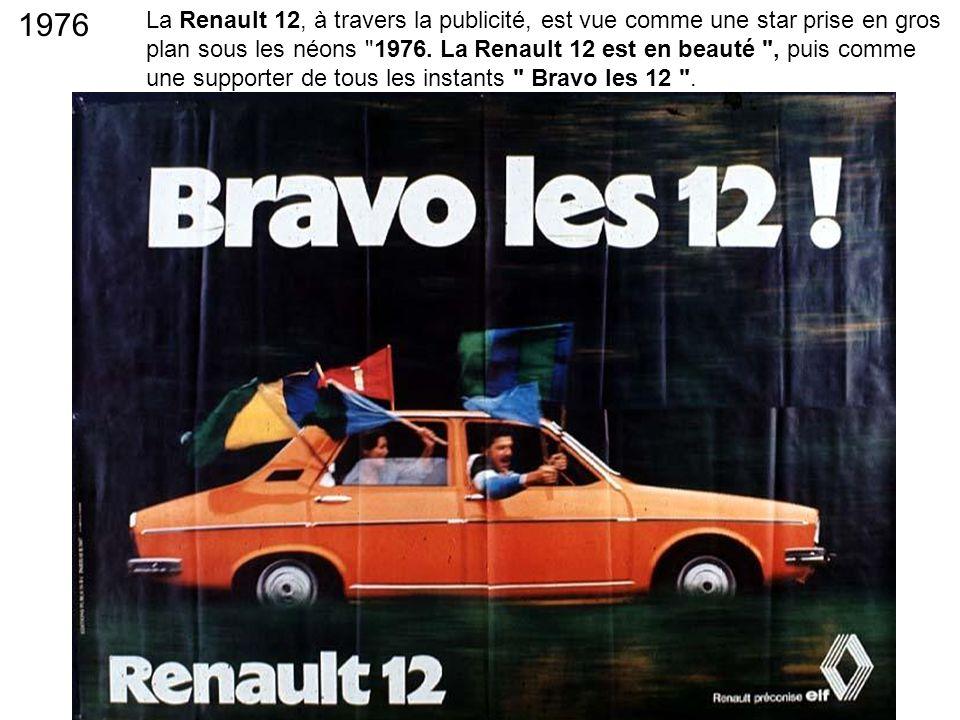 La Renault 12, à travers la publicité, est vue comme une star prise en gros plan sous les néons