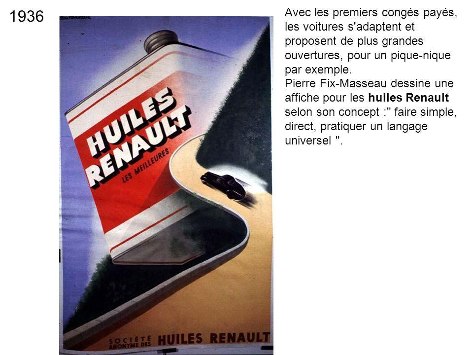 1936 Avec les premiers congés payés, les voitures s'adaptent et proposent de plus grandes ouvertures, pour un pique-nique par exemple. Pierre Fix-Mass