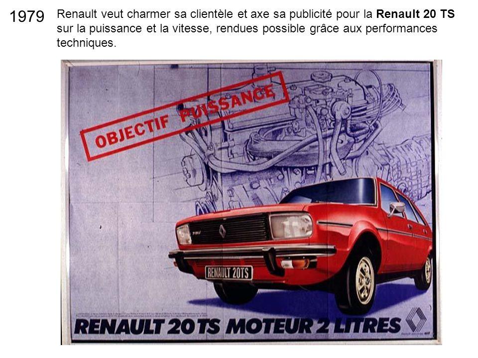 Renault veut charmer sa clientèle et axe sa publicité pour la Renault 20 TS sur la puissance et la vitesse, rendues possible grâce aux performances te