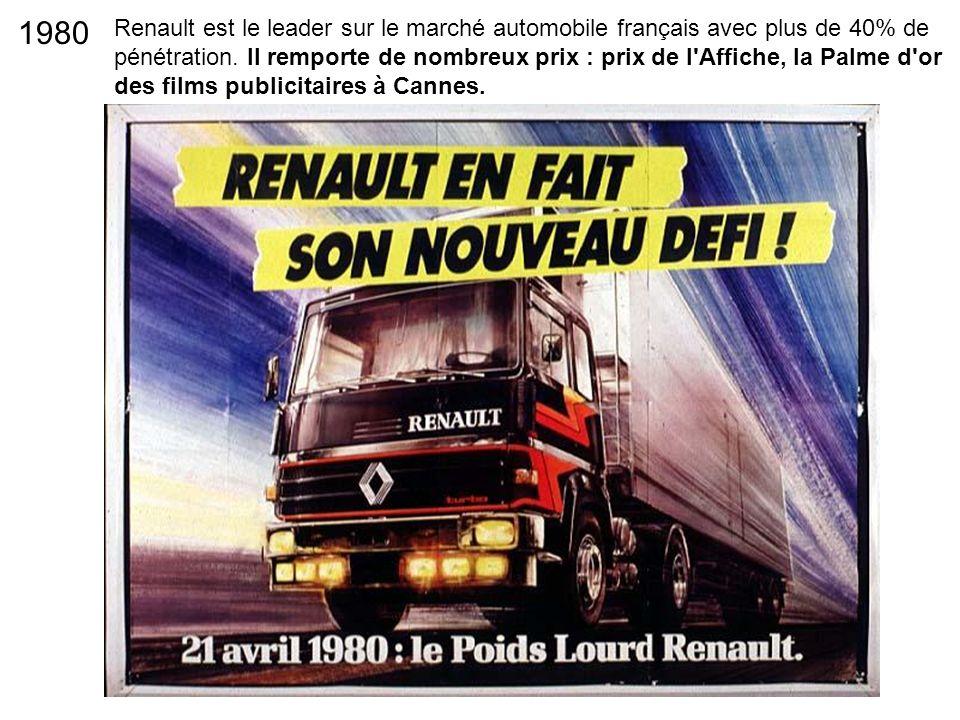 Renault est le leader sur le marché automobile français avec plus de 40% de pénétration. Il remporte de nombreux prix : prix de l'Affiche, la Palme d'