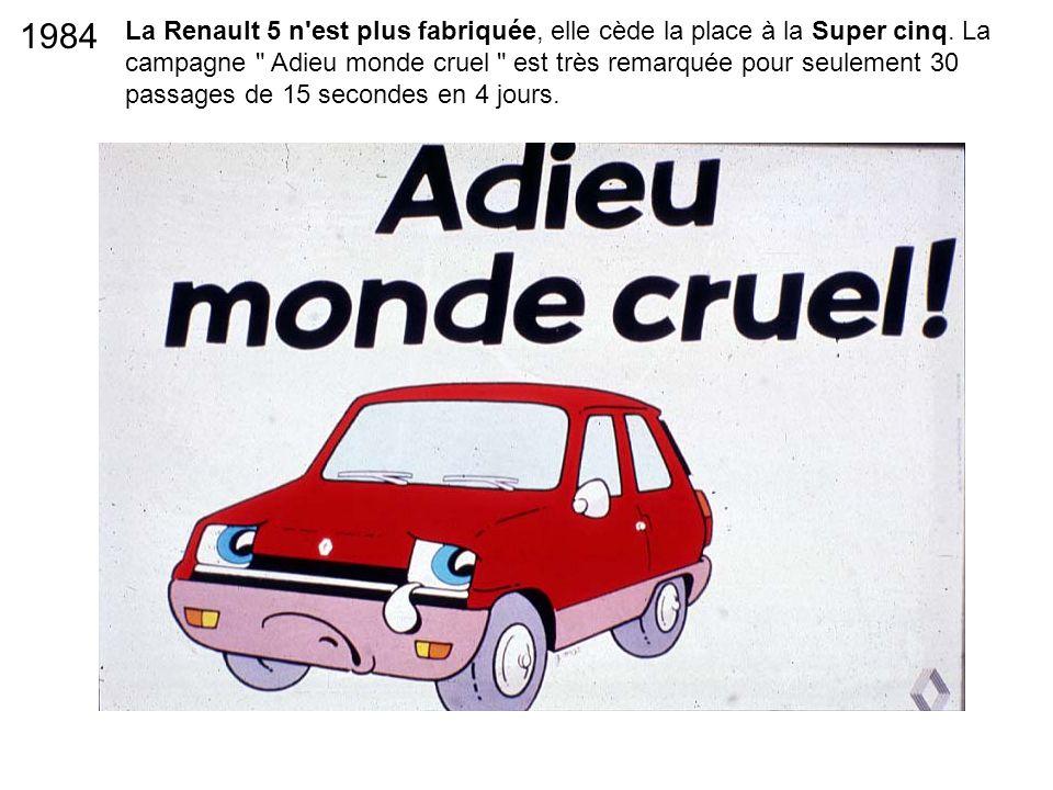 La Renault 5 n'est plus fabriquée, elle cède la place à la Super cinq. La campagne