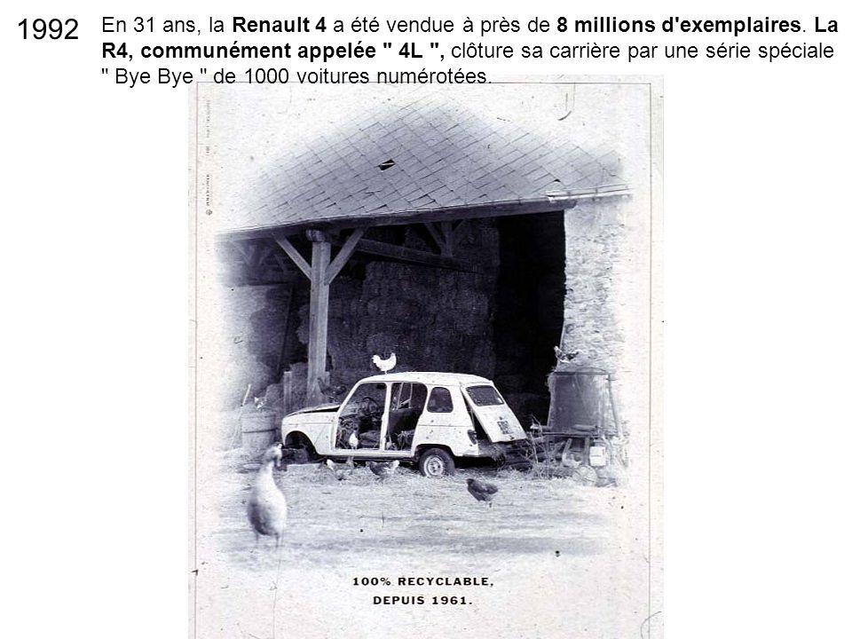 En 31 ans, la Renault 4 a été vendue à près de 8 millions d'exemplaires. La R4, communément appelée