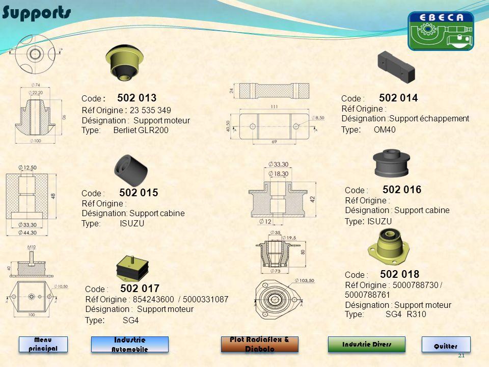 21 Code : 502 013 Réf Origine : 23 535 349 Désignation : Support moteur Type: Berliet GLR200 Code : 502 014 Réf Origine : Désignation :Support échappe