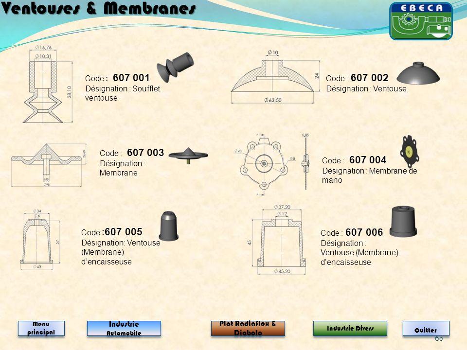 60 Code : 607 003 Désignation : Membrane Code : 607 004 Désignation : Membrane de mano Ventouses & Membranes Industrie Automobile Industrie Automobile