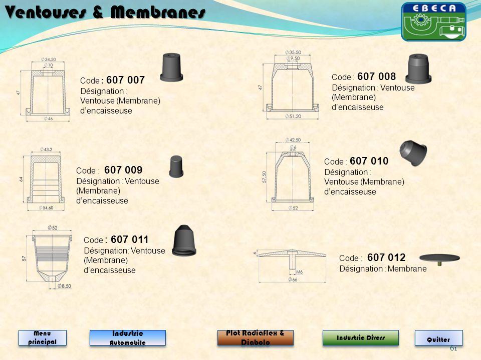 61 Code : 607 007 Désignation : Ventouse (Membrane) dencaisseuse Code : 607 008 Désignation : Ventouse (Membrane) dencaisseuse Ventouses & Membranes I