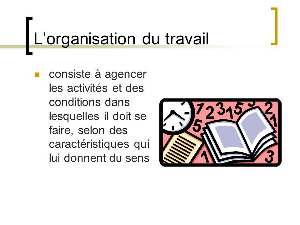 Lorganisation du travail consiste à agencer les activités et des conditions dans lesquelles il doit se faire, selon des caractéristiques qui lui donne