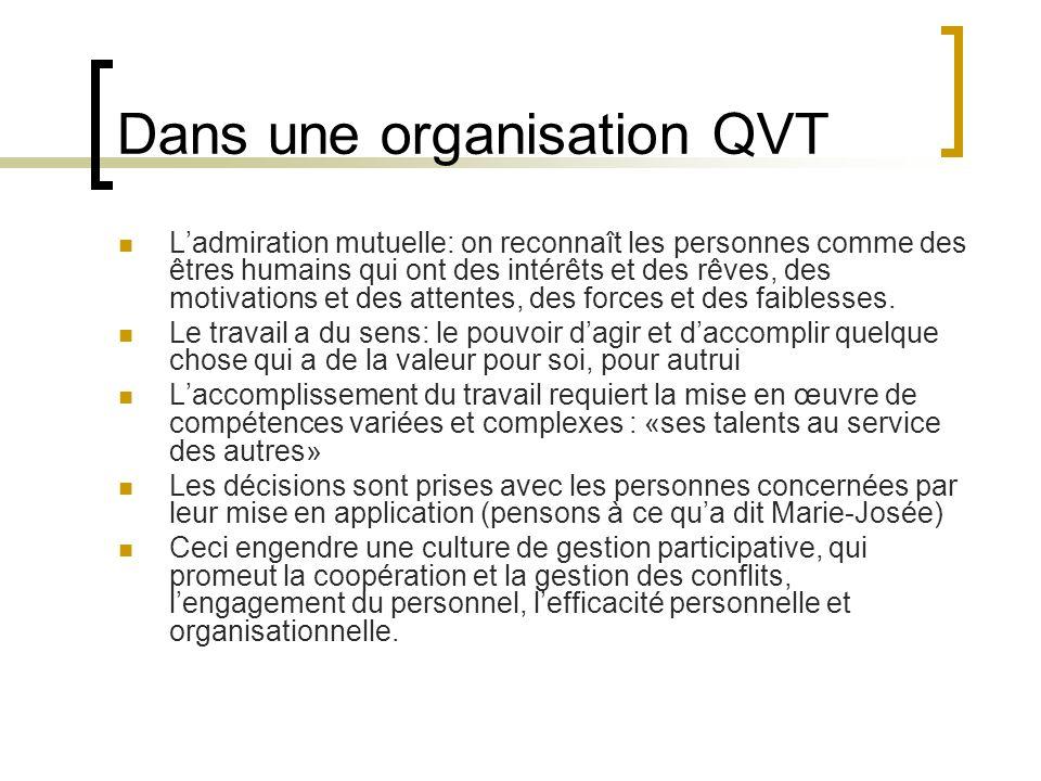Dans une organisation QVT Ladmiration mutuelle: on reconnaît les personnes comme des êtres humains qui ont des intérêts et des rêves, des motivations