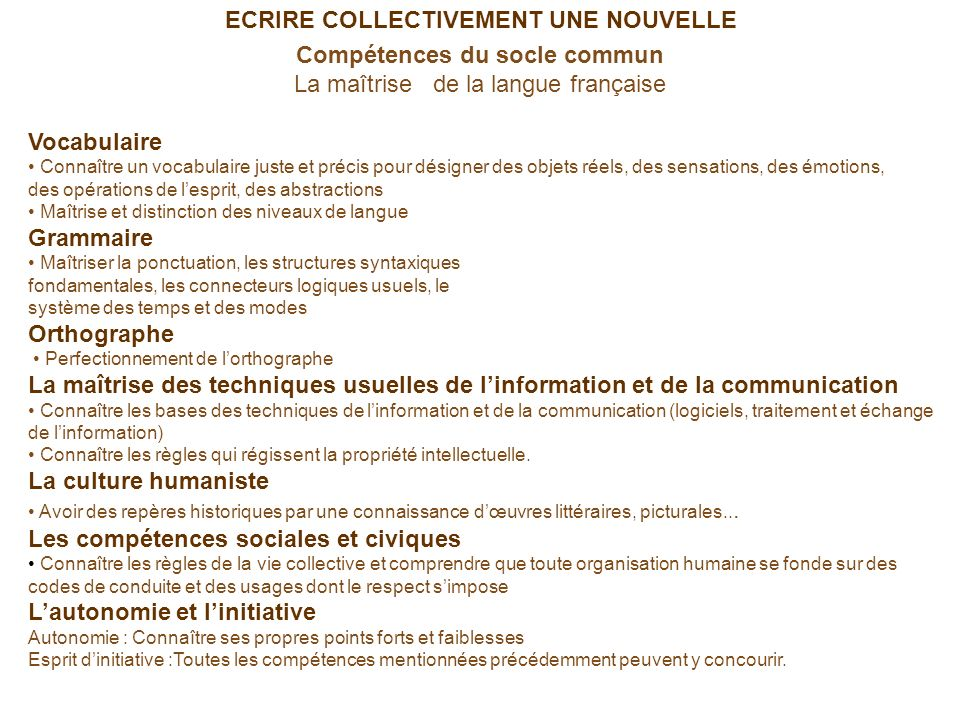 Compétences du socle commun La maîtrise de la langue française Vocabulaire Connaître un vocabulaire juste et précis pour désigner des objets réels, de