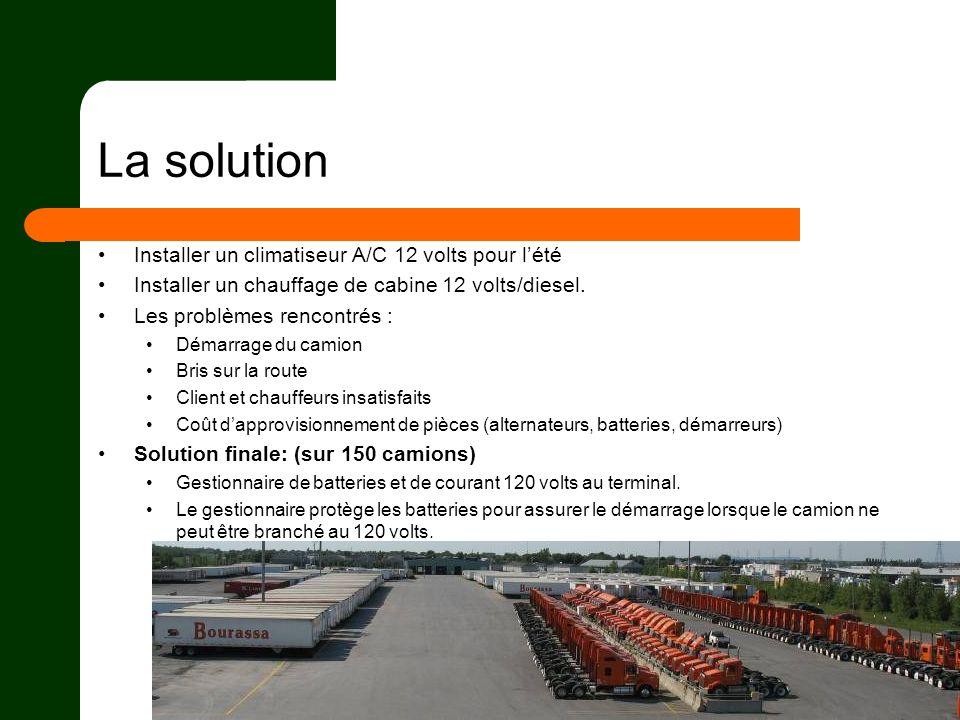 La solution Installer un climatiseur A/C 12 volts pour lété Installer un chauffage de cabine 12 volts/diesel. Les problèmes rencontrés : Démarrage du