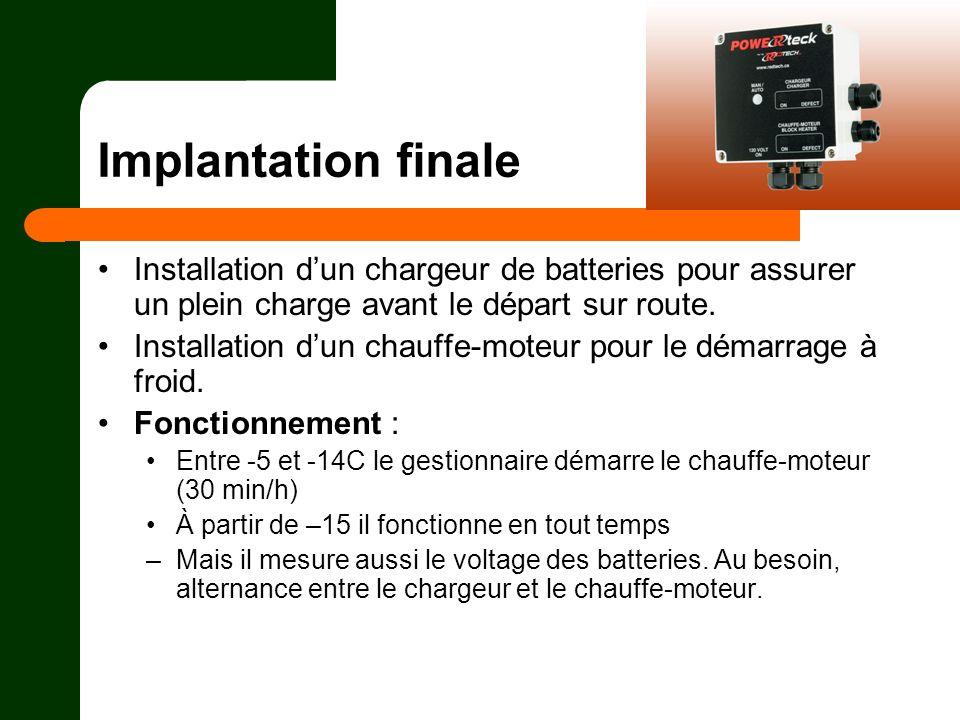 Implantation finale Installation dun chargeur de batteries pour assurer un plein charge avant le départ sur route. Installation dun chauffe-moteur pou