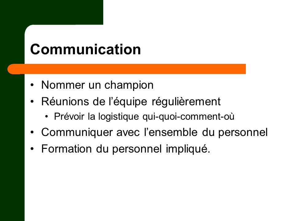 Communication Nommer un champion Réunions de léquipe régulièrement Prévoir la logistique qui-quoi-comment-où Communiquer avec lensemble du personnel F