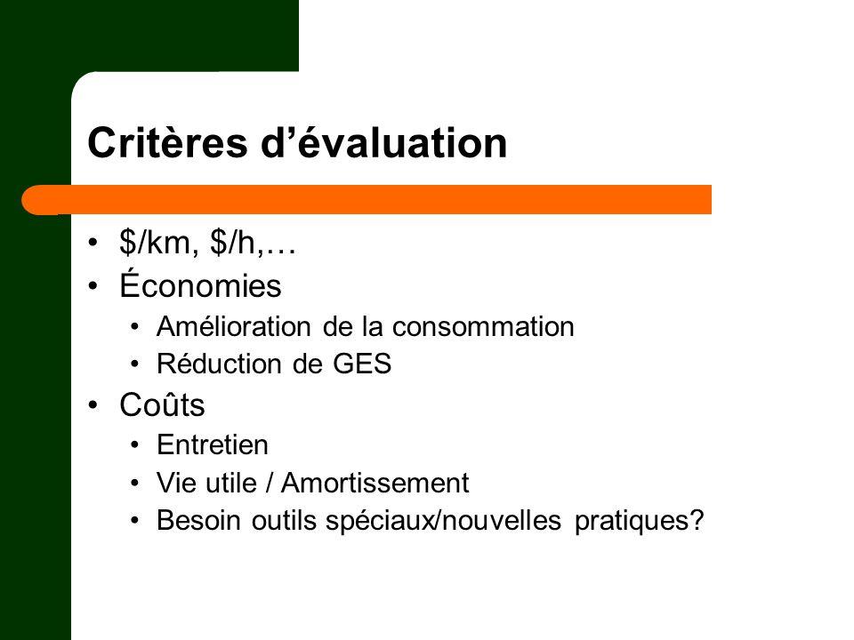 Critères dévaluation $/km, $/h,… Économies Amélioration de la consommation Réduction de GES Coûts Entretien Vie utile / Amortissement Besoin outils sp