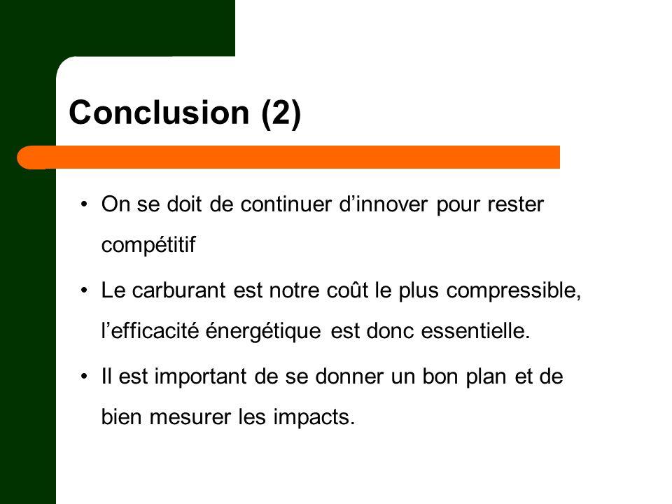 Conclusion (2) On se doit de continuer dinnover pour rester compétitif Le carburant est notre coût le plus compressible, lefficacité énergétique est d